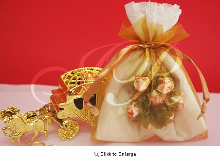 "36 - Antique Gold 4 1/2"" x 5 1/2"" Organza Sheer Gift Favor Bags -Pack of 36"