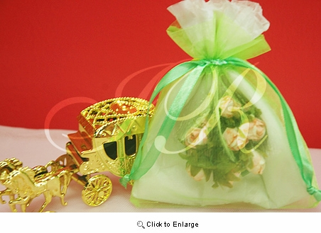 """36 - Apple green 4 1/2"""" x 5 1/2"""" Organza Sheer Gift Favor Bags -Pack of 36"""
