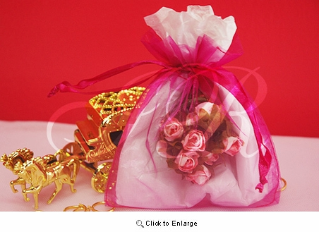 """36 - Hot Pink 4 1/2"""" x 5 1/2"""" Organza Sheer Gift Favor Bags -Pack of 36"""