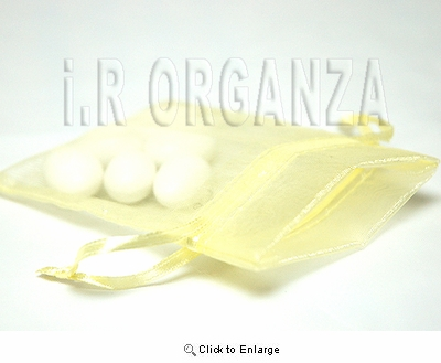 """36 - Lt Yellow 4 1/2"""" x 5 1/2"""" Organza Sheer Gift Favor Bags -Pack of 36"""