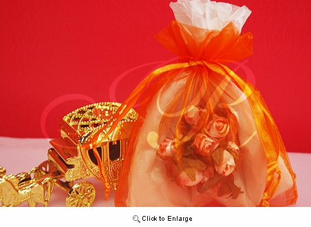 "36 - Orange 4 1/2"" x 5 1/2"" Organza Sheer Gift Favor Bags -Pack of 36"