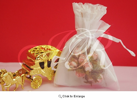 """36 - White 4 1/2"""" x 5 1/2"""" Organza Sheer Gift Favor Bags -Pack of 36"""