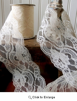 "4"" x 10 YD Ivory Lace Floral Style"