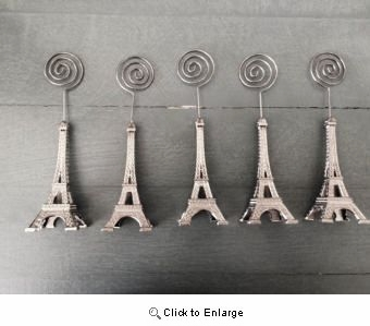 "4""Metal Silver Eiffel Tower Wedding Party Event Name Table Card Holder Stand 4 pcs"
