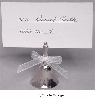 "6- 2"" Tall Place Card Holder Bell - Pack of 6"