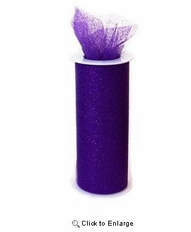 "6"" x 10 Yard Purple fabric wedding Glitter Tulle spool"