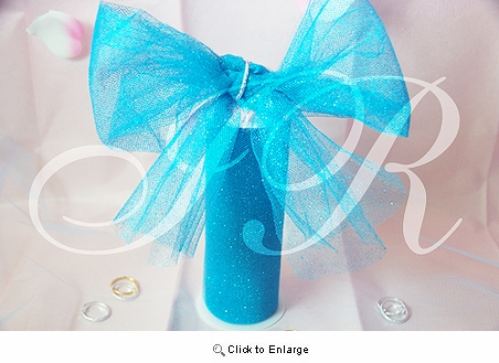 "6"" x 10 Yard Turquoise fabric wedding Glitter Tulle spool"