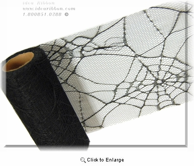 "6""x 30FT  Spider Web Net Tulle For TuTu<br> Halloween Goth haunted<br> Costume Fabric Supply"