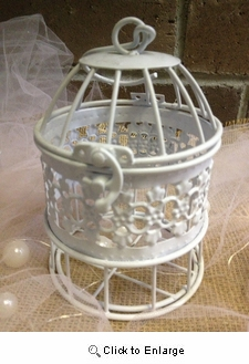 "6""x3"" White Metal Birdcage Wedding Gift Card Holder WISHING WELL Reception"