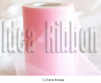 "6""x300 FT Peony Pink Soft wedding tulle"