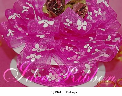 "7/8"" 25yard Fuchsia Sheer Organza  with Butterfly printed Gift Ribbon"