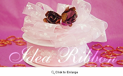 """7/8"""" 25yard Lt Pink Sheer Organza  with Butterfly printed Gift Ribbon"""