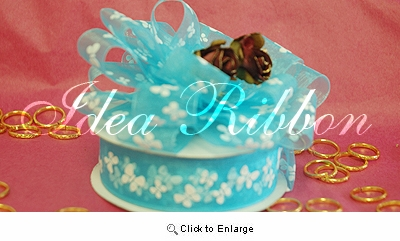 """7/8"""" 25yard Turquoise Sheer Organza  with Butterfly printed Gift Ribbon"""