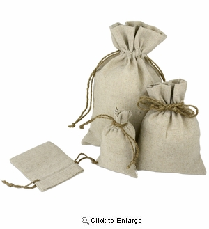 "8"" x 10"" Linen Bag with Jute Cord"