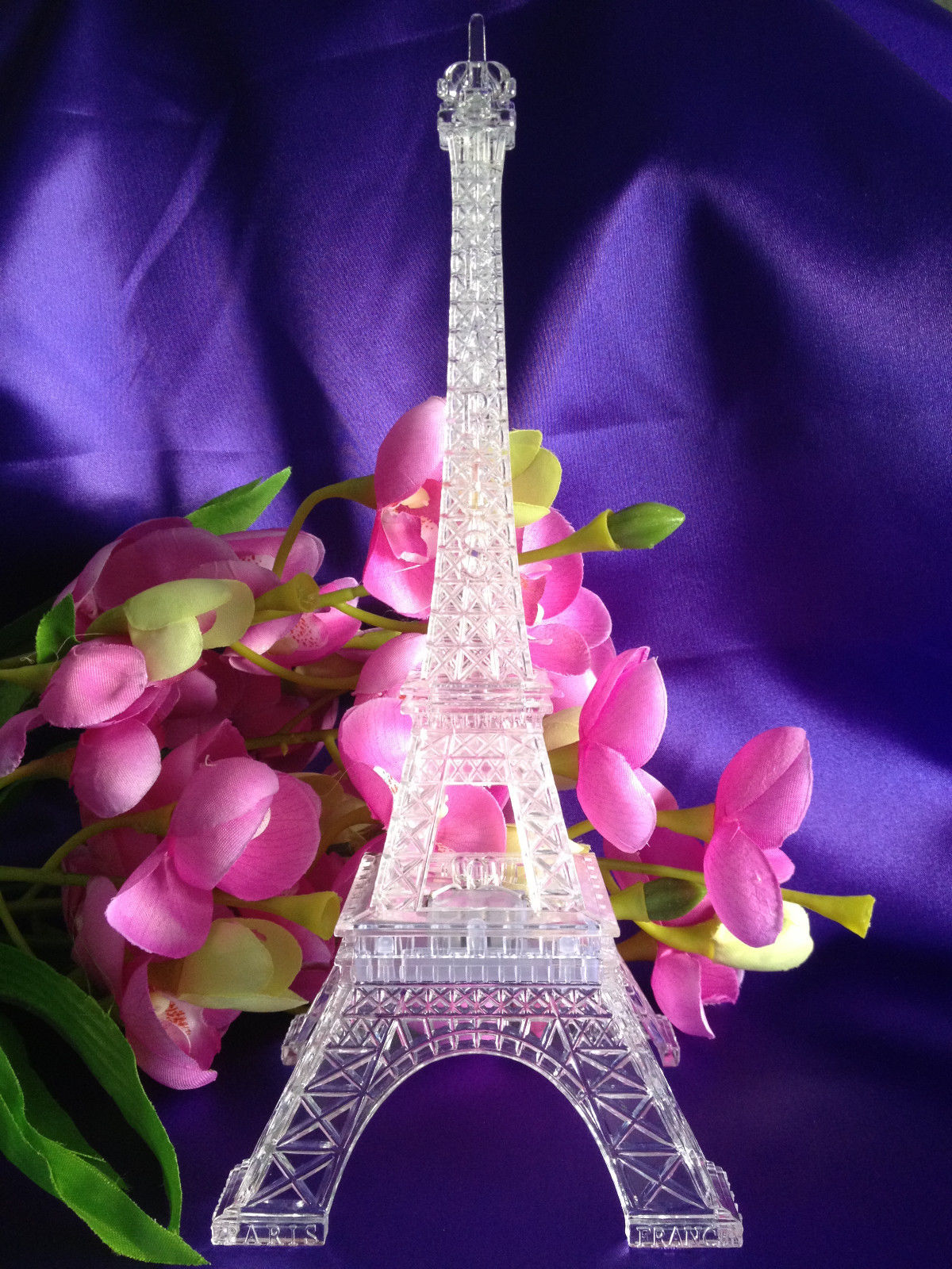 9 Inch Light Up Acrylic Led Eiffel Tower Souvenir W Build