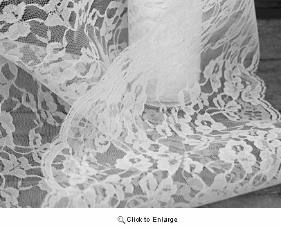 "Lace, 9"" x10 Yard White Flat Lace Ribbon"