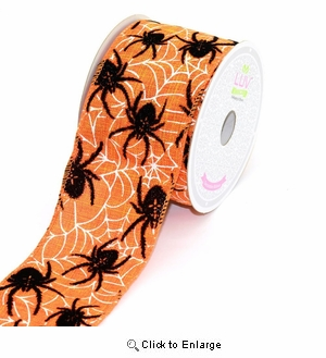 "Black Spider  On Orange  Canvas Velvet  2 1/2"" x 10 Yard Spider Ribbon Halloween n Sold By Pack of 4 $7.50 Each Roll"