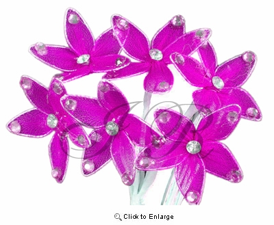 Fuchsia Miniature Organza Flowers with Stem  Pack of 36 flowers