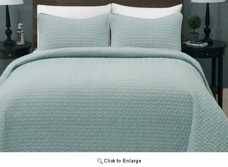 Full/Queen Size Madison Aqua Green Quilt Coverlet Bedspread Set|Superbeddings