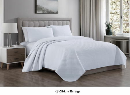 Full/Queen Size White 3 Pieces Elliott Quilt Coverlet Bedspread Set|Superbeddings