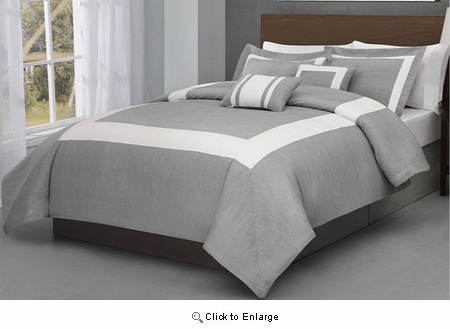 Full Size Forte 5 Pieces Gray w/ Ivory Comforter Set Bed Cover|Superbeddings