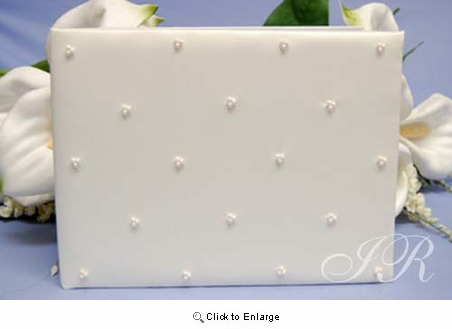 Ivory Satin Guest Book with Pearl Decoration - Pack of 1
