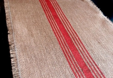 Amazing Jute Burlap Table Runner With Christmas Red Strips | Holiday Style