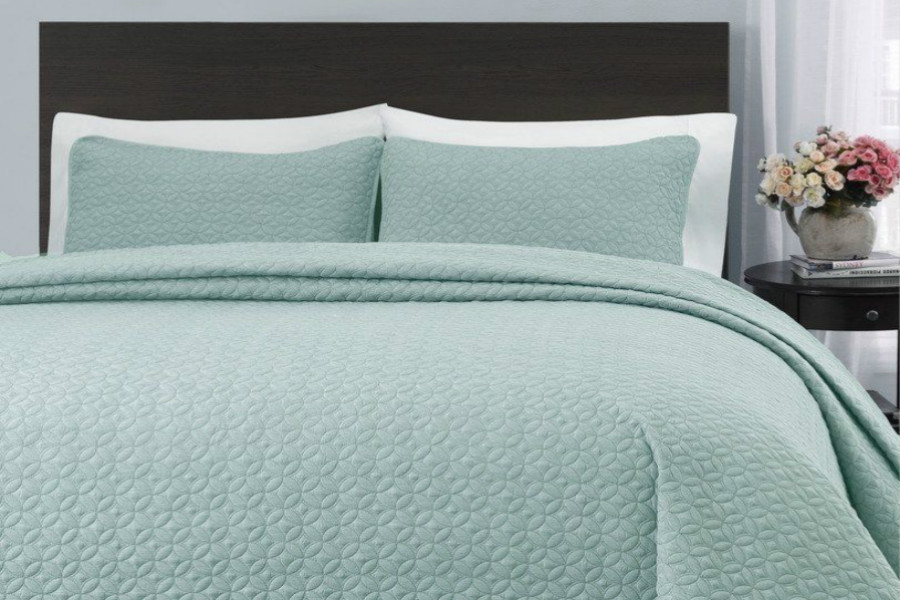 King Cal King Size Aqua Green Quilt Coverlet Bedspread Settwin Twin