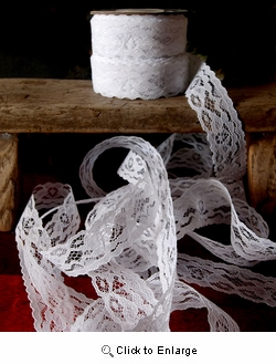 "Lace, 1"" x 25YD White Lace Ribbon"