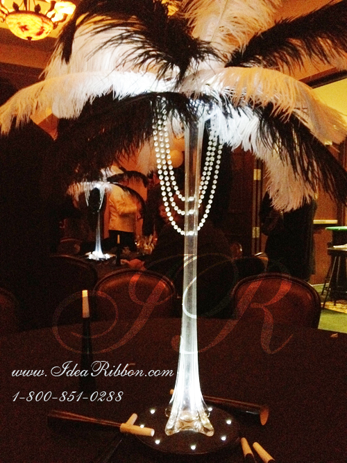 Quot ostrich feathers set with eiffel tower vase