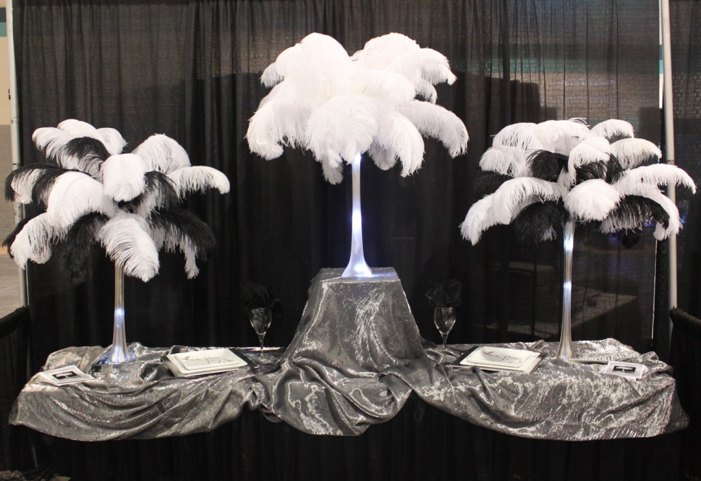18 Ostrich Feathers 12 Set With 20 Eiffel Tower Vase