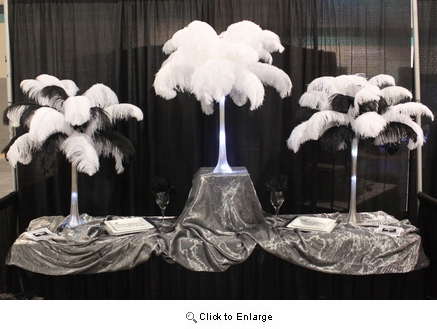 """Ostrich Feather Centerpieces<br> 18"""" with Lot 12 20"""" Tall Eiffel Tower Vases"""