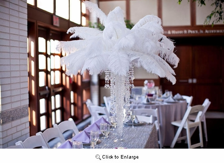 "Ostrich Feather Centerpieces<br> 18"" with Lot 12 24"" Tall Eiffel Tower Vases"