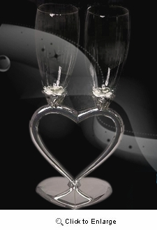Silver Plated heart Stand w. clear glass Champagne Flutes - Pack of 2