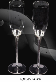 Silver Plated Stand with clear glass champagne flutes - Pack of 2