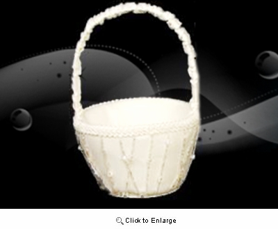 White Flower Girl Basket With String decoration - Pack of 1