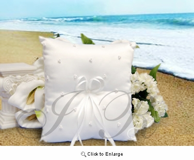 White Ring Pillow With Pearl Decoration - Pack of 1