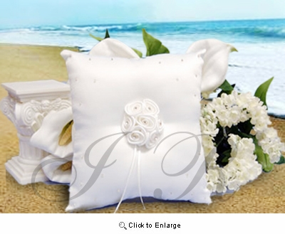 White Satin  Bearer Ring Pillow with Roses Pack of 1
