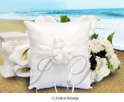 White Satin Ring Bearer Pillow with Flowers - Pack of 1