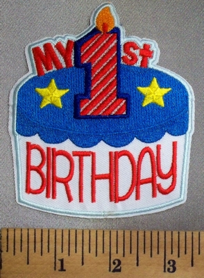 063 C - My 1st Birthday - Birthday Cake With One Candle - Red - White - Blue - Embroidery Patch