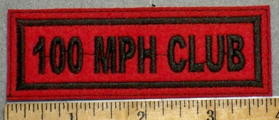 2236 L - 100 MPH Club - Red Background - Embroidery Patch