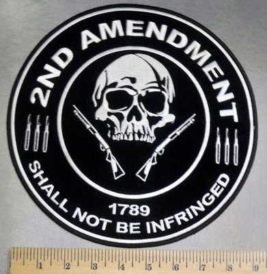 5119 CP - 2nd Amendment - 1789 - Shall Not Be Infringed - Skull With Two Rifles - Round - Back - Embroidery Patch