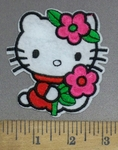 1243 C - Hello Kitty #3 - Pink Flowers - Embrodiery Patch