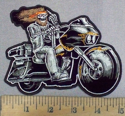 1783 G - DISCONTINUED Hippie Skeleton Rider -  Riding Motorcycle With Middle Finger  - Embroidery Patch
