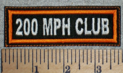 2715 L - 200 MPH Club  - Orange Border - Embroidery Patch