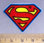 2497 C - Superman Logo - Blue Border - Embroidery Patch