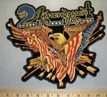 2492 G - 2nd Amendment Eagle With American Flag, Arrows And Two Shotguns - Back Patch - Embroidery Patch