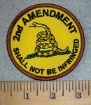 3186 W - 2nd Amendment - Shall Not Be Infringed - Yellow With Snake - Round - Embroidery Patch