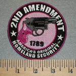 2173 G - 2Nd Amendment With Gun - Round - Pink and Purple - Embroidery Patch