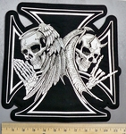 608 C - Angelic Skull VS Devilish Skull - Chopper Logo - Iron Cross - Back Patch - Embroidery Patch